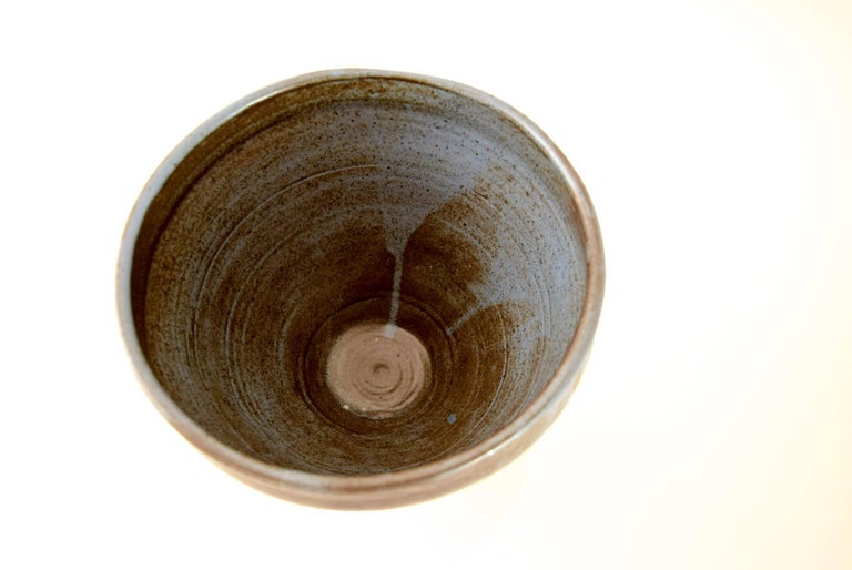 Large Vintage Midcentury Handmade Ceramic Pottery Blue Decorative Bowl, 1960s For Sale 1