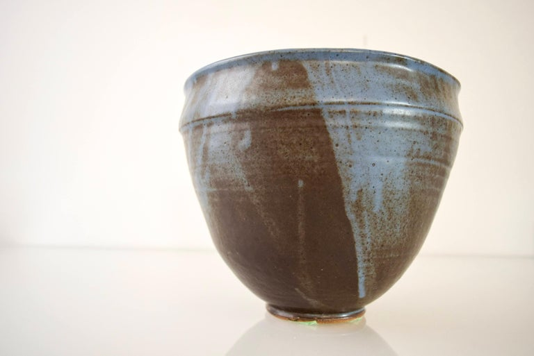 Large Vintage Midcentury Handmade Ceramic Pottery Blue Decorative Bowl, 1960s For Sale 2