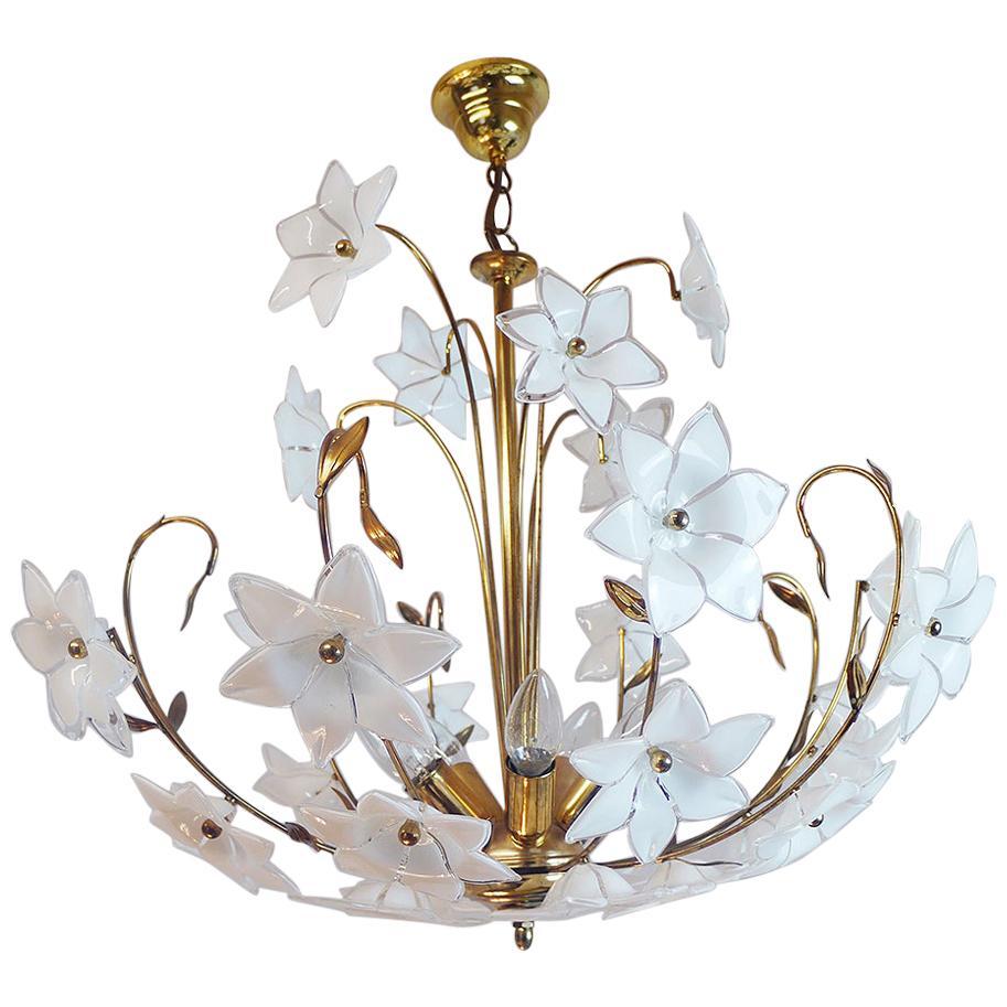 Large Vintage Mid Century Italian Murano Flower Venini Art Glass Gilt Chandelier