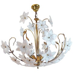 Large Vintage Mid Century Italian Murano Flower Venini Art Glass Gilt Chandelier