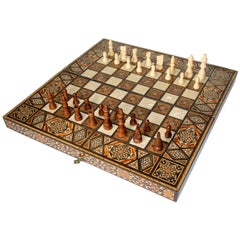 Large Vintage Midcentury Complete Syrian Inlaid Mosaic Backgammon and Chess Game