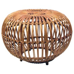 Large Vintage Midcentury Rattan Cane Ottoman by Franco Albini for Bonacina