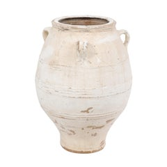 Large Vintage Midcentury White Terracotta Pot from Greece with Three Handles