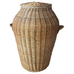 Large Vintage Midcentury Wicker Laundry Basket Hamper, 1970s, German