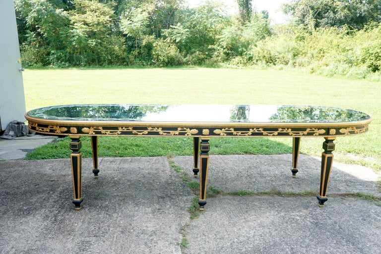 Large Vintage Mirror Topped Dining Table in the Manner of Jansen For Sale 6