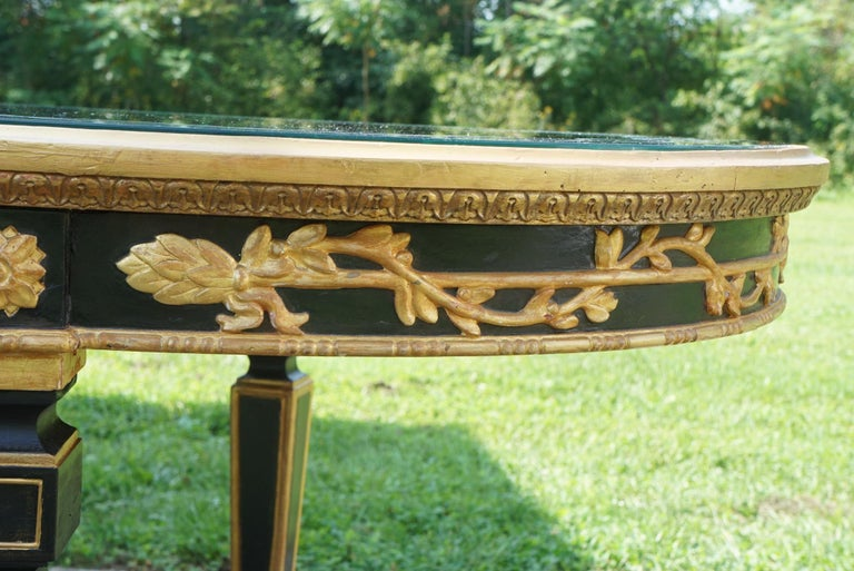 Louis XVI Large Vintage Mirror Topped Dining Table in the Manner of Jansen For Sale