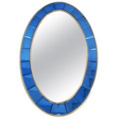 Large Vintage Mirror w/ Beveled Blue Cobalt Glass by Cristal Arte, 1950s