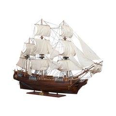 Large Vintage Model, the Bounty, English, Mahogany, Collectible, Ship, Display