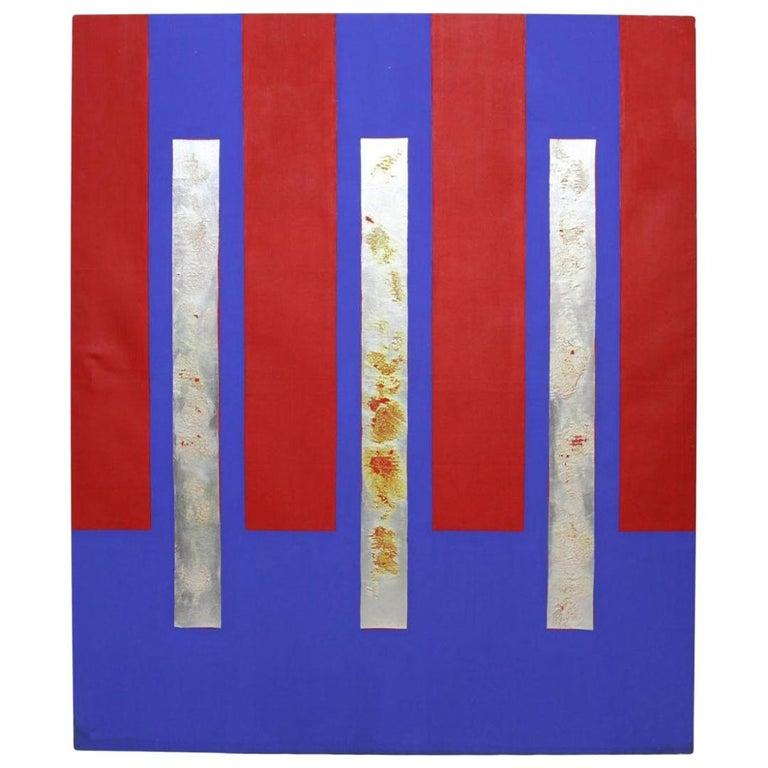 Large Vintage Modern Abstract Modernist Painting, Vera Simons, circa 1973 For Sale