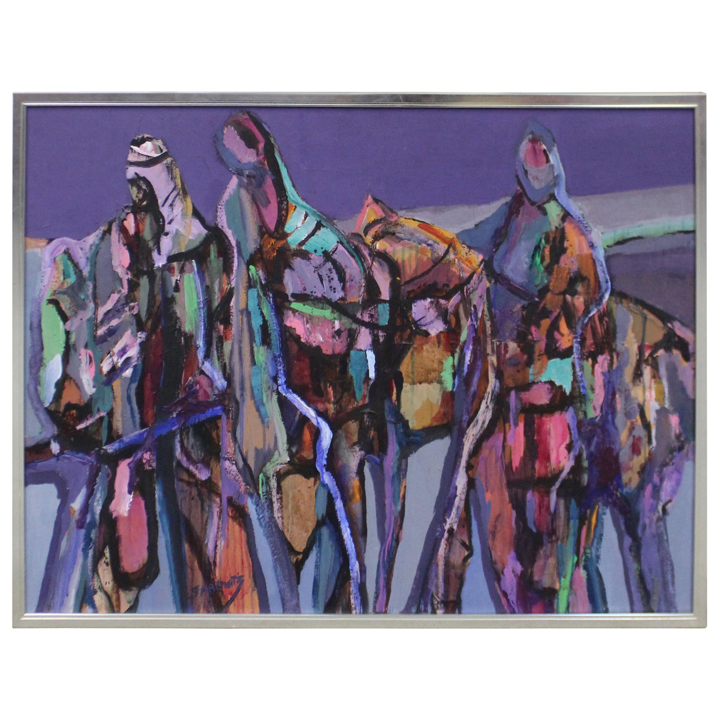 Large Vintage Modern Abstract Ruth Sabowitz 'Caravan' Canvas Painting