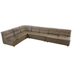 Large Vintage Modular Sofa in Grey-Brown Leather