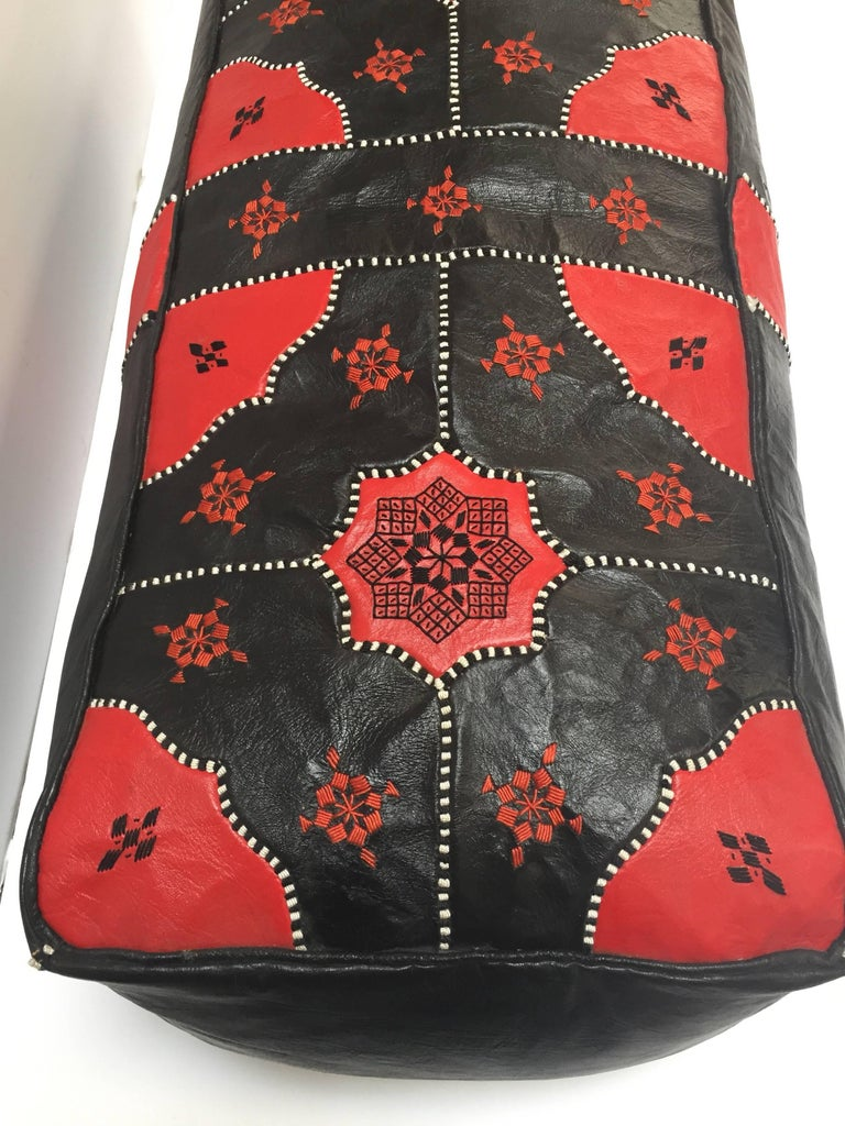 Large Vintage Moroccan Red and Black Leather Rectangular Ottoman For Sale 6