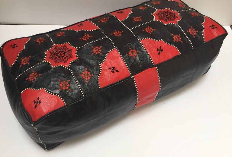Large Vintage Moroccan Red and Black Leather Rectangular Ottoman For Sale 7