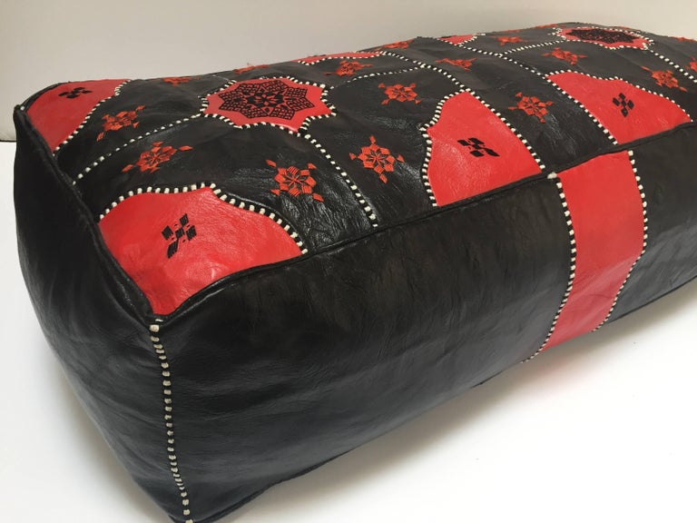 Large Vintage Moroccan Red and Black Leather Rectangular Ottoman For Sale 8