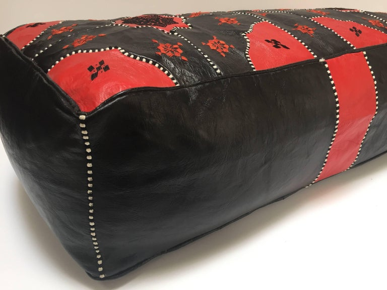 Large Vintage Moroccan Red and Black Leather Rectangular Ottoman For Sale 9