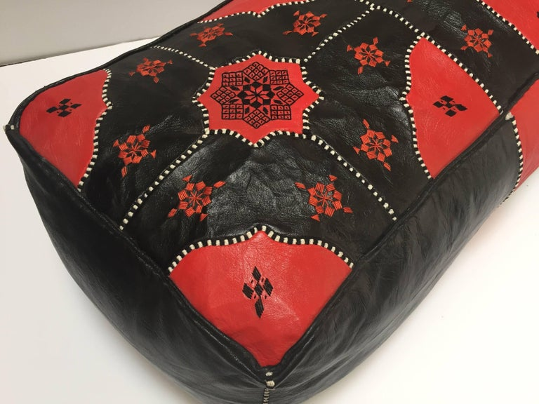 Large Vintage Moroccan Red and Black Leather Rectangular Ottoman For Sale 10