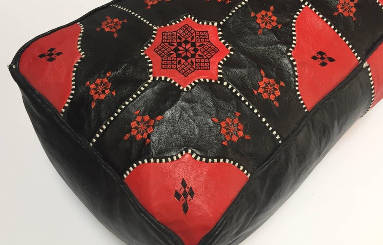 Large Vintage Moroccan Red and Black Leather Rectangular Ottoman For Sale 11