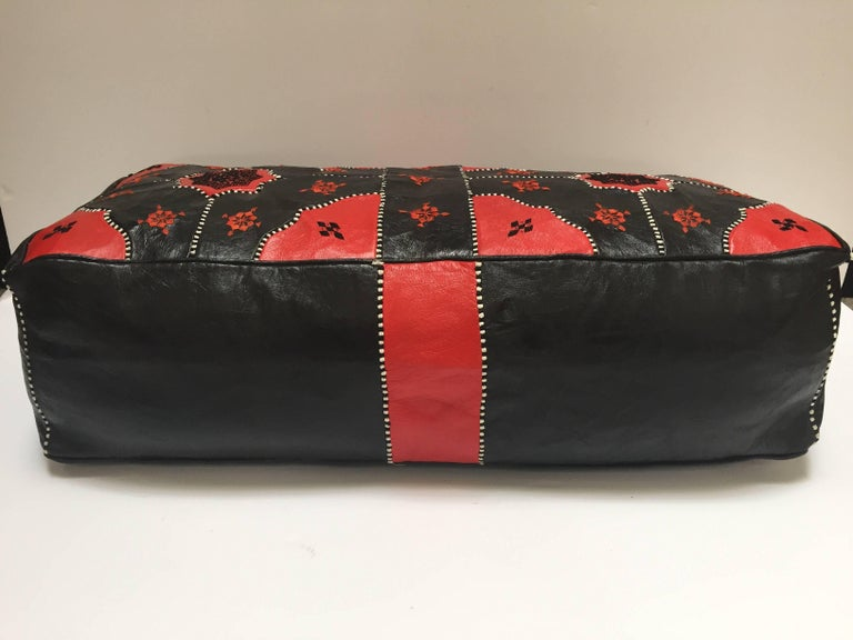 Moorish  Large Vintage Moroccan Red and Black Leather Rectangular Ottoman For Sale