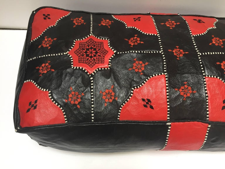 Large Vintage Moroccan Red and Black Leather Rectangular Ottoman In Good Condition For Sale In North Hollywood, CA
