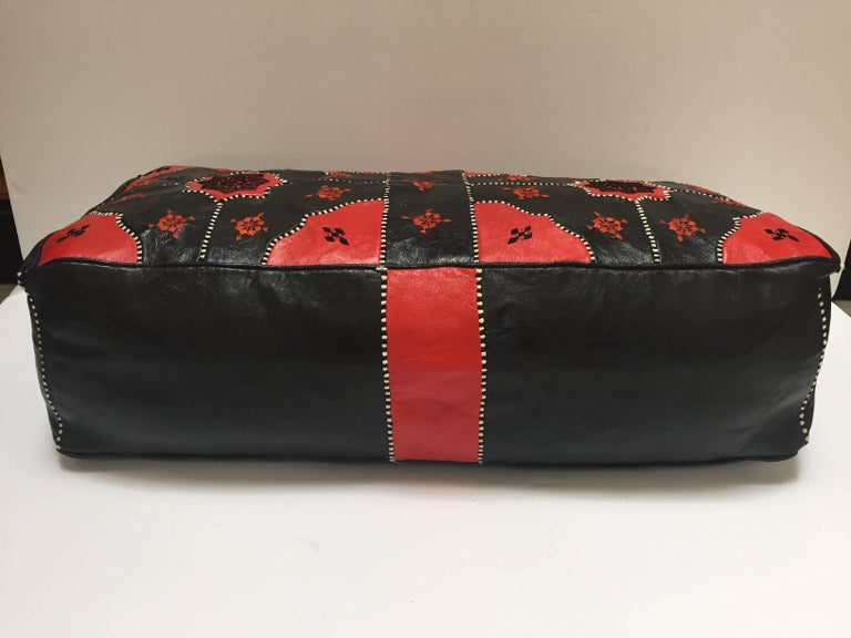 20th Century  Large Vintage Moroccan Red and Black Leather Rectangular Ottoman For Sale