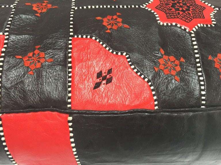 Large Vintage Moroccan Red and Black Leather Rectangular Ottoman For Sale 1