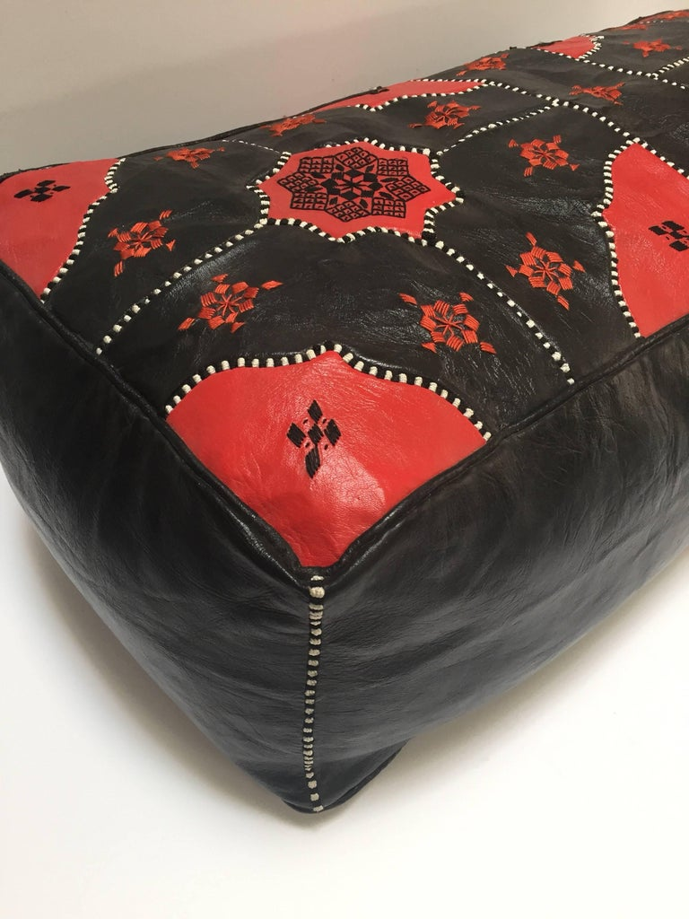 Large Vintage Moroccan Red and Black Leather Rectangular Ottoman For Sale 2