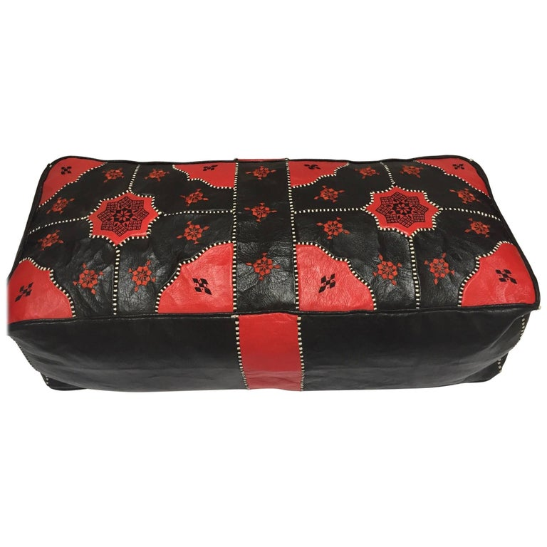 Large Vintage Moroccan Red and Black Leather Rectangular Ottoman For Sale