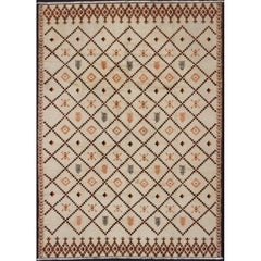 Large Vintage Moroccan Rug in Diamond Design with Ivory and Brown Outlines