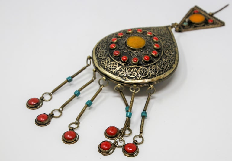 Beautiful vintage Moroccan Ethnic silver fibula.