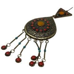 Large Vintage Moroccan Tribal Ethnic Silver Fibula