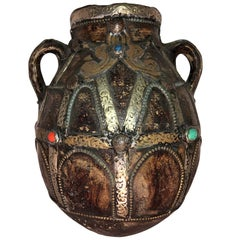 Large Vintage Moroccan Two-Handled Jug, Handmade Silver and Copper Repousse