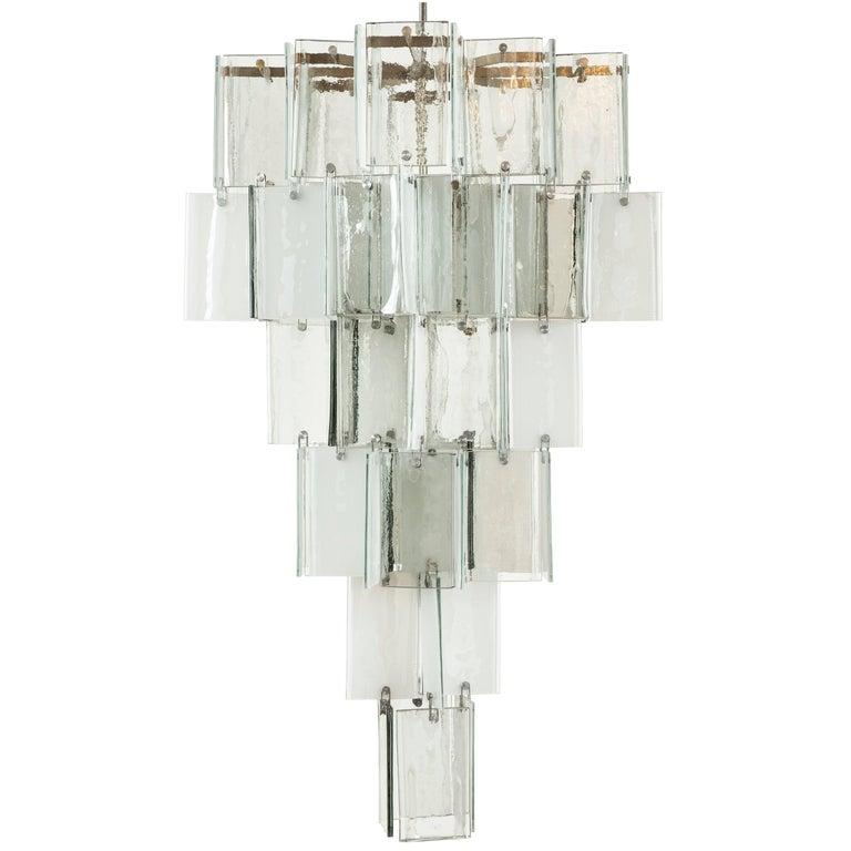 Large Vintage Murano Glass Pendant Light Attributed to AV Mazzega
