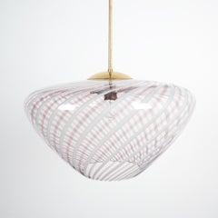 Large Vintage Murano Swirl Glass Pendant Lamp