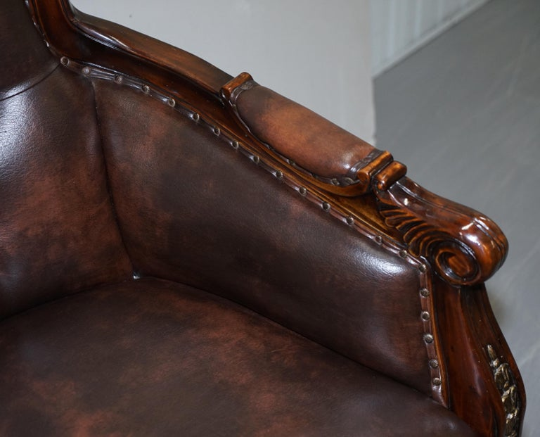 Large Vintage Napoleon Style Brown Leather Chesterfield Captains Office Chair For Sale 3