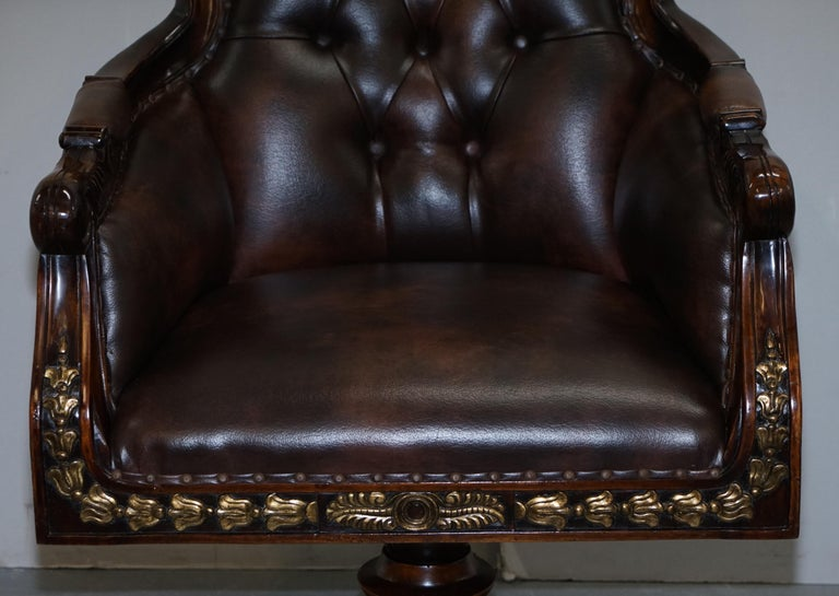 Large Vintage Napoleon Style Brown Leather Chesterfield Captains Office Chair For Sale 5