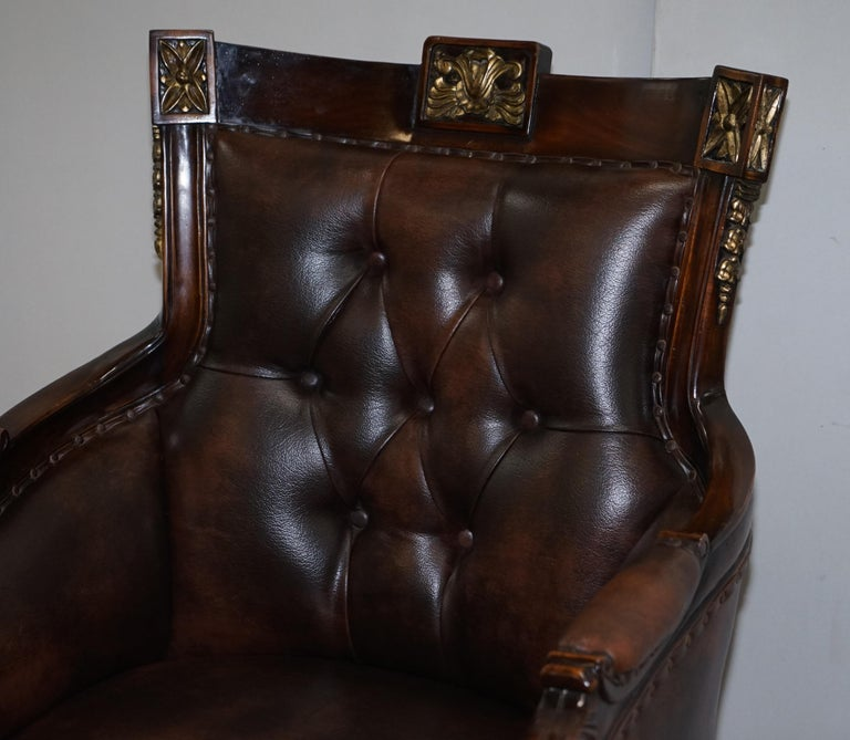English Large Vintage Napoleon Style Brown Leather Chesterfield Captains Office Chair For Sale