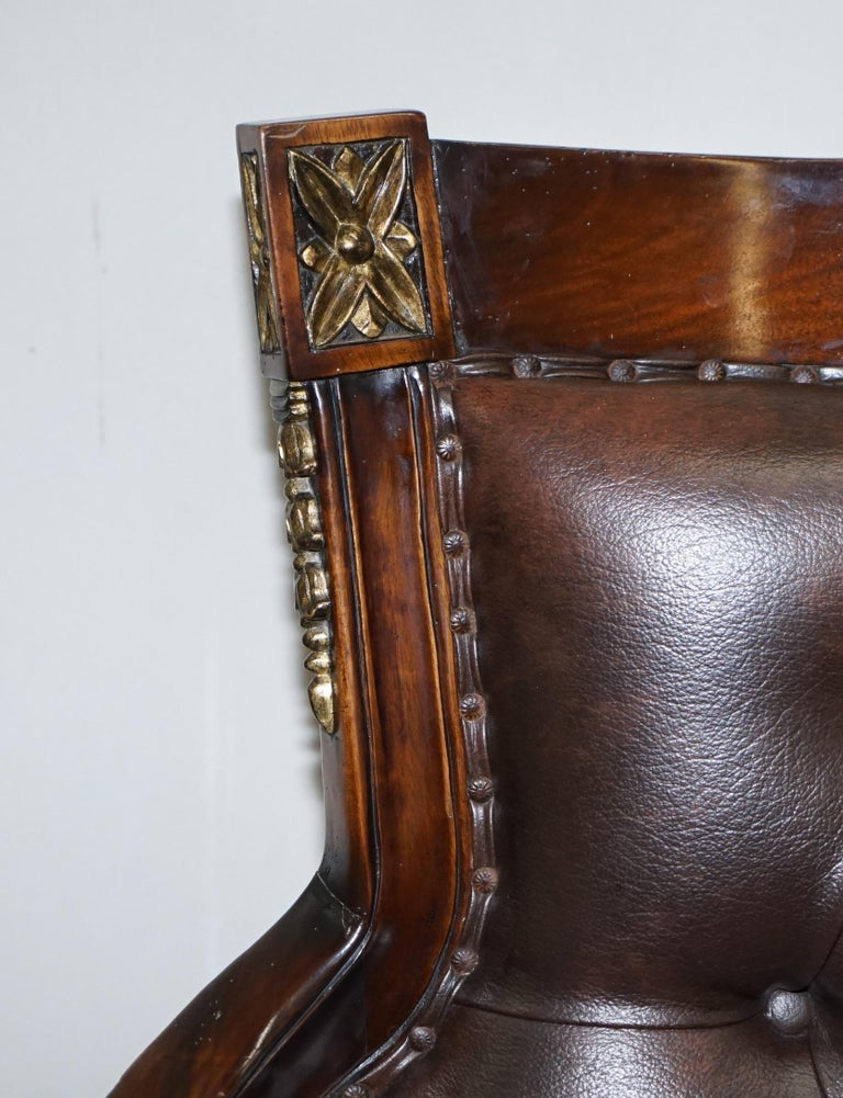 Large Vintage Napoleon Style Brown Leather Chesterfield Captains Office Chair In Good Condition For Sale In London, GB