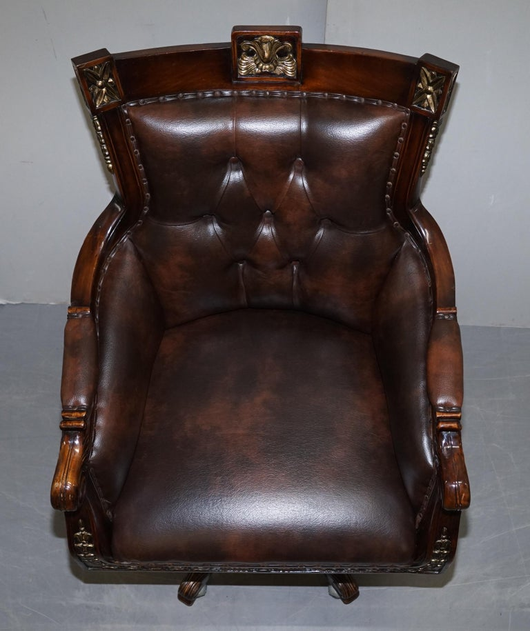 Large Vintage Napoleon Style Brown Leather Chesterfield Captains Office Chair For Sale 1