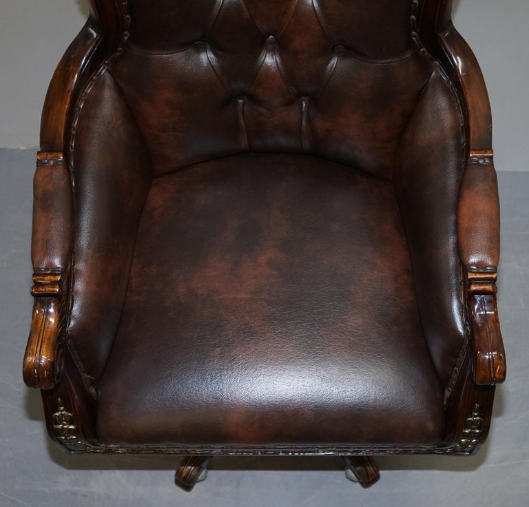 Large Vintage Napoleon Style Brown Leather Chesterfield Captains Office Chair For Sale 2