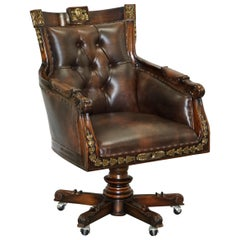 Large Vintage Napoleon Style Brown Leather Chesterfield Captains Office Chair