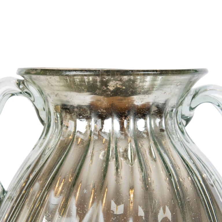 Hand-Crafted Large Vintage Neoclassical Style Mercury Glass Urn For Sale