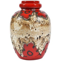 Large Vintage red No. 286-42 Ceramic Vase from Scheurich, Germany 1970s