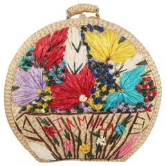 Large Vintage Novelty Raffia Floral Straw Beach Bag Tote