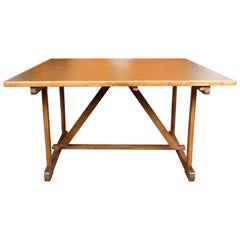 Large Vintage Oak Table Work Table Boardroom