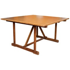 Large Vintage Oak Work Trestle Table Industrial