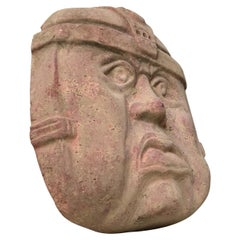 Large Vintage Olmec Terracotta Wall Head, Mexico 1970s