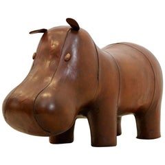 Large Vintage Omersa Brown Leather Hippo