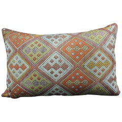 Large Vintage Orange and Red Woven Kilim Decorative Bolster Pillow