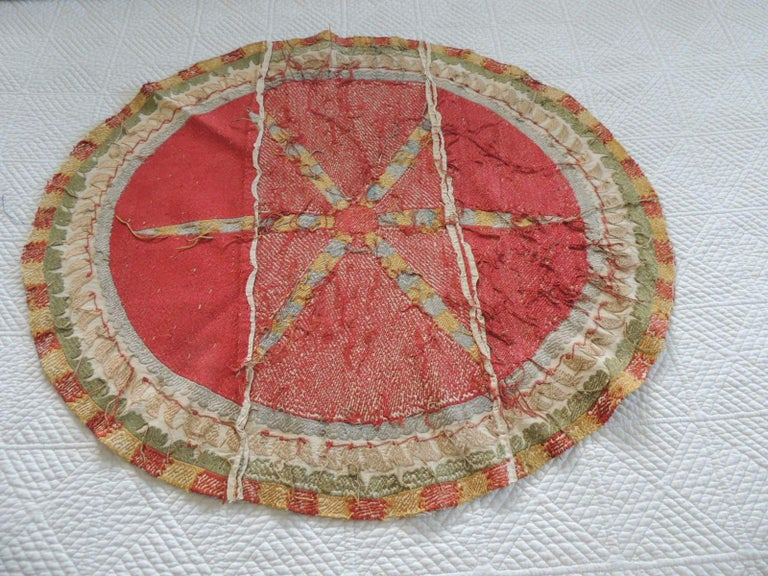 Hand-Crafted Large Vintage Orange and Yellow Oval Suzani Textile Fragment For Sale