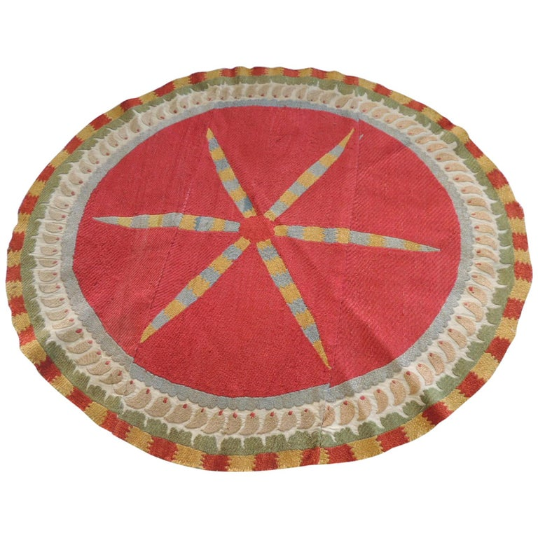 Large Vintage Orange and Yellow Oval Suzani Textile Fragment For Sale